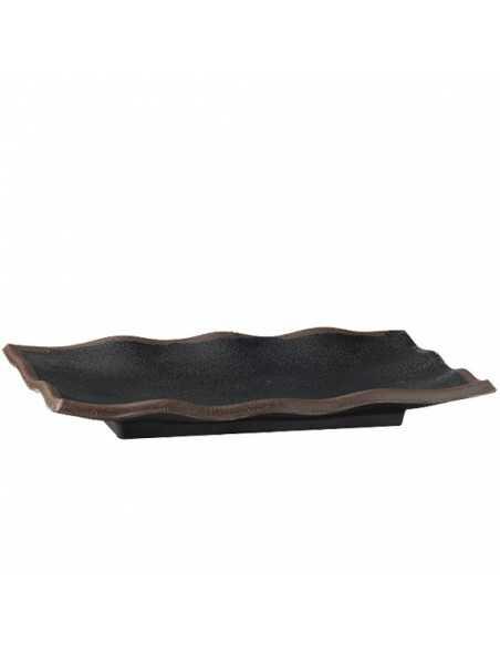 Bandeja rectángular melamina negra 22,5 x 15 cm