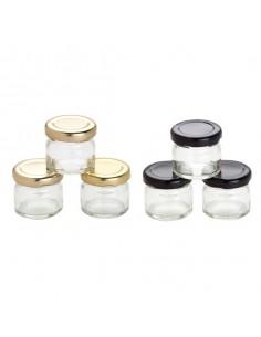 Mini tarro cristal confitura ø4 x 4 cm. 30 ml. Varios colores. (105 Uds) Precio unitario 0,30€
