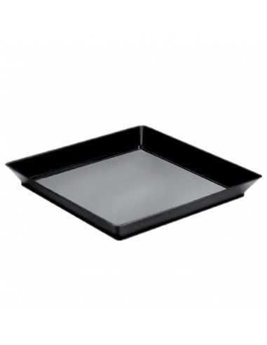 Plato cuadrado negro 13 x 13 cm. 130 ml. (12 Uds) Precio unitario 0,40€