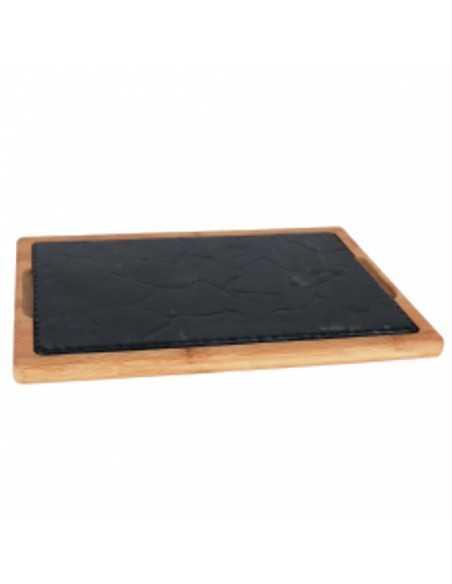 Bandeja de hierro fundido con soporte bambú. Varias medidas (4 Uds) Precio unitario desde