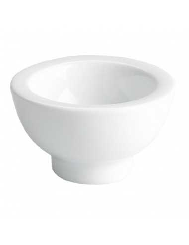 Mini bowl de porcelana blanca con pie
