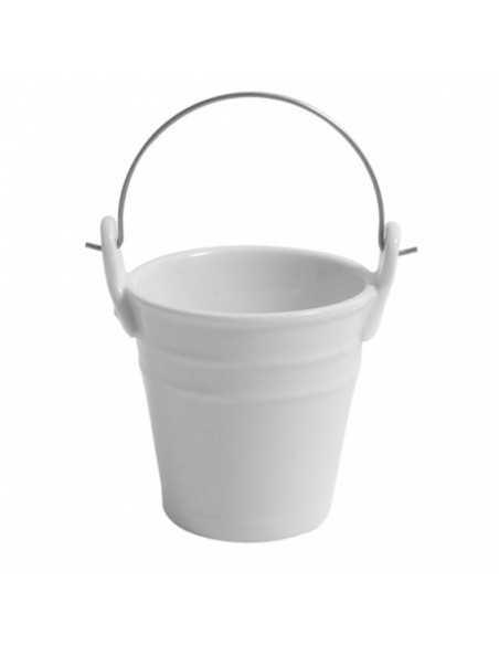 Mini cubo de porcelana con asa para catering y restauración