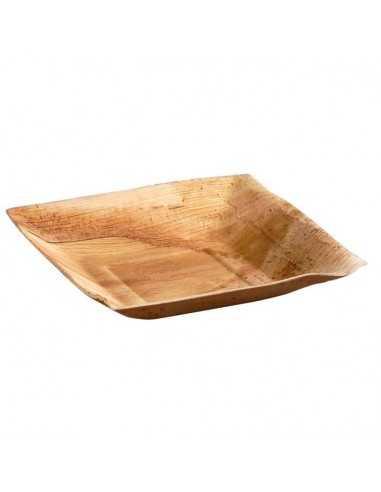 Plato de palma, ángulos cuadrados y bordes inclinados (60 Uds.)