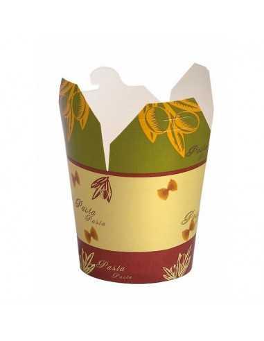 """Cajas con base redonda de cartón y decoración """"Pasta"""" (500 Uds.)"""