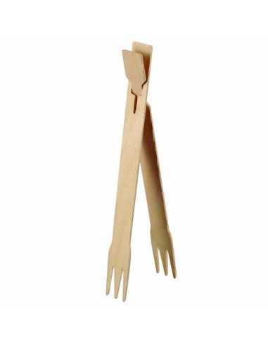 Palillos tipo tenedor de madera envueltos 2u (1000 Uds.)