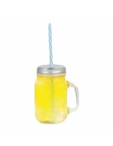 Tarro jarra con pajita ø9 x 13 cm 480 ml (48 Ud) Precio ud 2,05€
