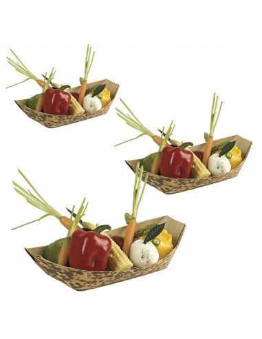 Barquilla de bambú para presentar comida
