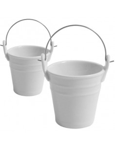 Mini cubo de porcelana con asa de acero ø6,5 x 7 cm 100 ml (48 Uds) 3,20€/ud.