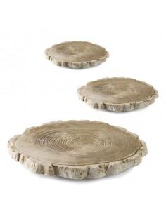 Plato tronco de árbol de porcelana ø32x4 cm (1 Ud) Precio 35,09€