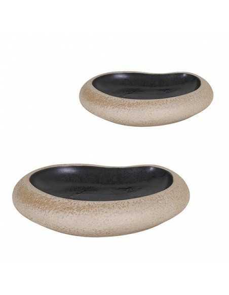 Plato marron negro Stoneware 27x21x6,5 cm (3 Uds) Precio ud 23,50€