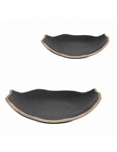 Plato oval negro filo marrón Stoneware 24x19x5 cm (4 Uds) Precio ud 11,19€