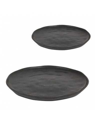 Plato redondo negro Stoneware ø26x2 cm (6 Uds) Precio ud desde 10,41€