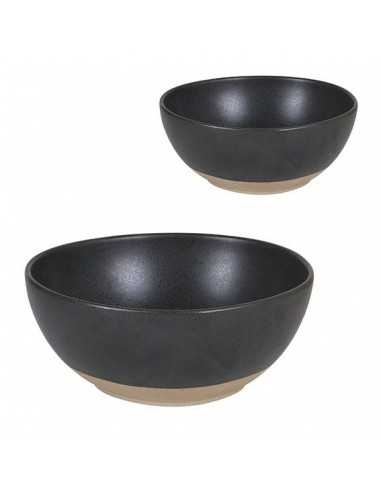 Bol oval negro base marrón Stoneware. Varias medidas y unidades. Precio ud desde 5,32€