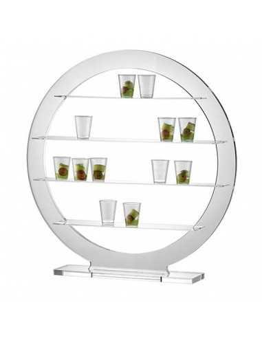Soporte redondo transparente con 4 baldas