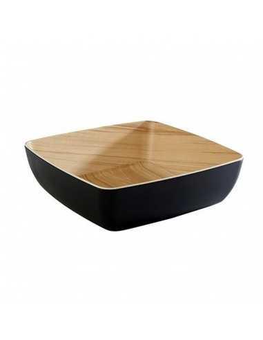 Bowl de melanina Frida madera/negro 25X25 CM
