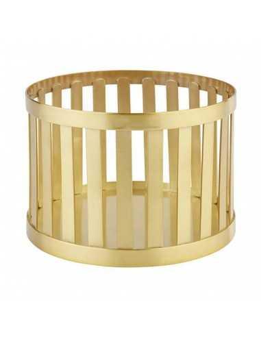 Cesta soporte en color dorado cepillo.