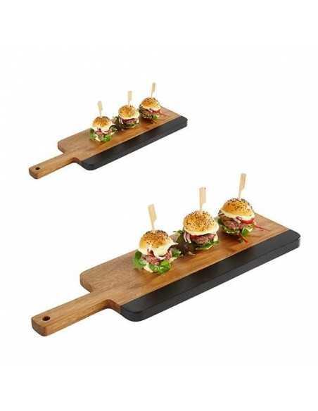 Bandeja de madera y pizarra con medidas de 30.5 x 13 x 1.5 cm.
