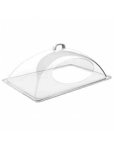 Cúpula transparente con apertura frontal en tamaño GN 1/1 y medidas 54 x 33 cm.