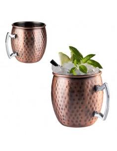 Taza de cobre mate abombada con asa de acero y medidas de 9 x 10 cm 0.5 cl.