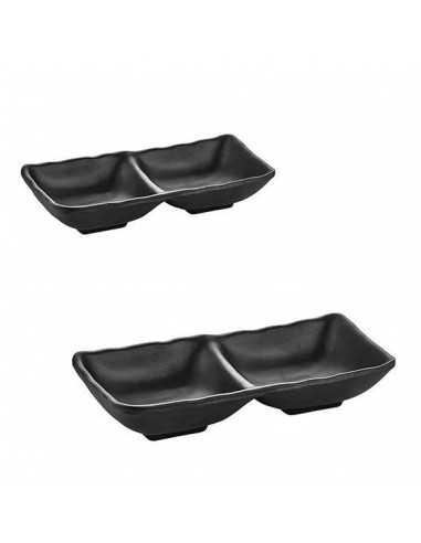 Doble bowl TERRRA de color negro con medidas de 17.5 x 8.5 x 3 cm.