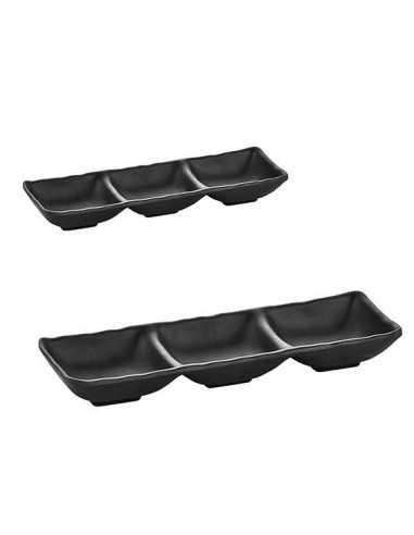Triple bowl TERRA de color negro y medidas de 26.5 x 9 x 3.5 cm.
