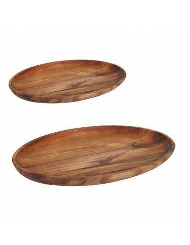 Bandeja oval de acacia con medidas de 29,8x19,7x2,5cm.