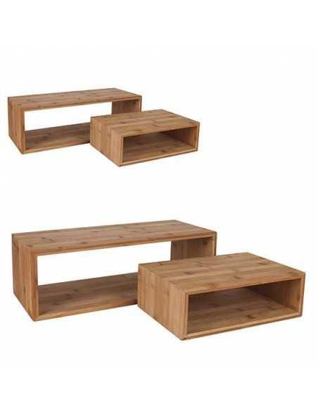 Set de 2 soportes rectangulares de bambú con medidas de 45x20x15cm+30x20x10 cm.