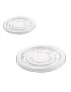 Tapa para tarrina biodegradable de almidón de maíz PLA transparente (2500 Uds)
