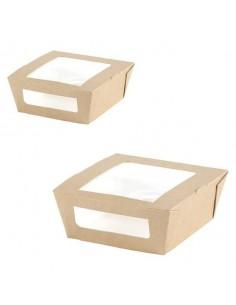 Caja para comida con ventana biodegradable cartón kraft 12 x 11 x 4,5 cm 450 ml (200 Uds)