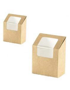 Envase para wrap con ventana biodegradable cartón kraft 9 X 5 X 13 cm 550 ml (1000 Uds)