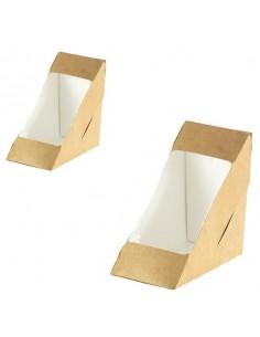 Envase para sandwich doble con ventana biodegradable cartón kraft 17,5 x 7,5 x 9 cm 590 ml (500 Uds)
