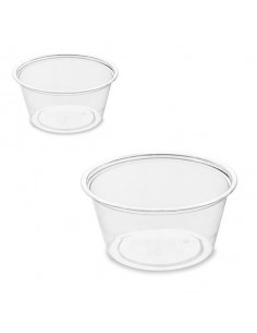 Tarrina biodegradable plástico RPET transparente 6,4 x 6,4 x 3 cm 60 ml (2500 Uds)
