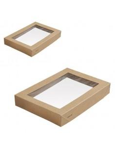 Tapa biodegradable con ventana para caja de cartón kraft (300 Uds)