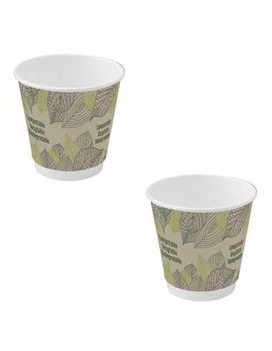 Vaso cartón doble capa decorado biodegradable Ø8 cm H 9 cm 230 ml (500 Uds)