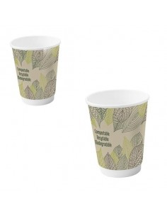 Vaso cartón doble capa decorado biodegradable Ø9 cm H 11 cm 340 ml (500 Uds)