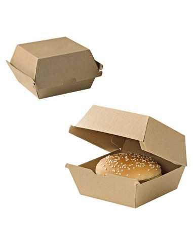 Mini caja hamburguesa cartón kraft 10,5x10,2x10 cm (300 Uds) Precio ud 0,43€