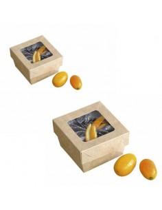 Caja de cartón kraft con ventana 7x7x4 cm 200 ml (250 Uds) Precio ud 0,32€