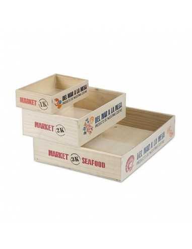 Caja marisco de madera impresa 3 Kg...