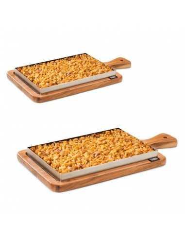 Llauna arroz, bandeja de madera con mango + bandeja acero inox