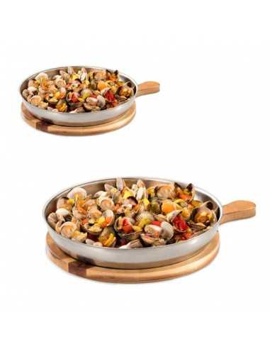 Llauna arroz acero inox redonda + bandeja de madera redonda con mango