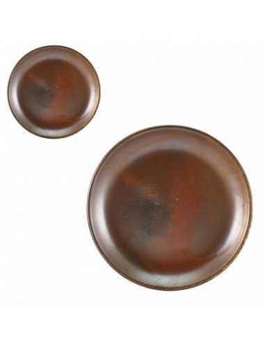 Plato llano porcelana Terra cobre rústico. Varias medidas (6 Uds) Precio 11,35€/ud