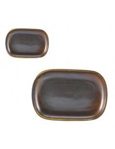 Bandeja rectangular porcelana Terra cobre rústico 24 x 16,5 cm (12 Uds) Precio 15,95€/ud