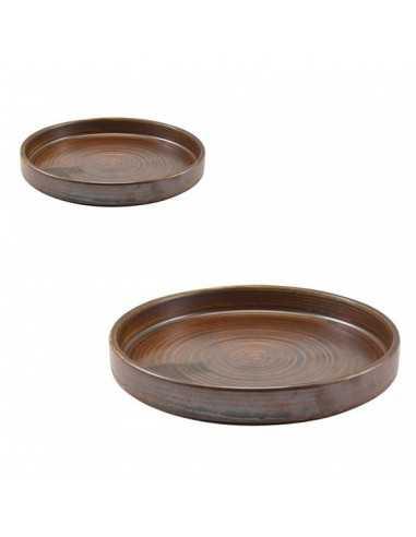 Plato llano con borde alto porcelana Terra cobre rústico. Varias medidas (6 Uds) Precio 12,89€/ud