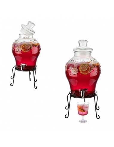 Dispensador de bebidas de cristal ø25x58 cm 10,5 L (1 Ud) Precio 88,50€