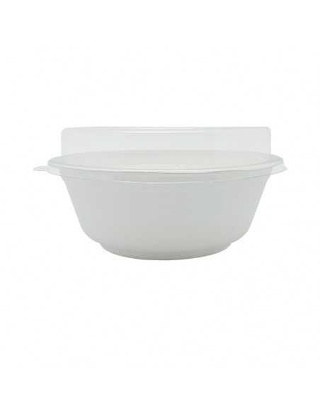Tapa de PET reciclable para bowl de caña de azúcar redondo