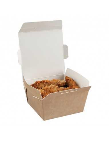 Caja de cartón kraft con interior blanco para comida para llevar