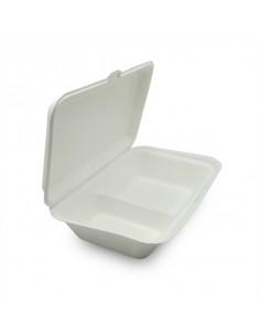 Envase de pulpa de caña de azúcar con dos compartimentos para transportar comida