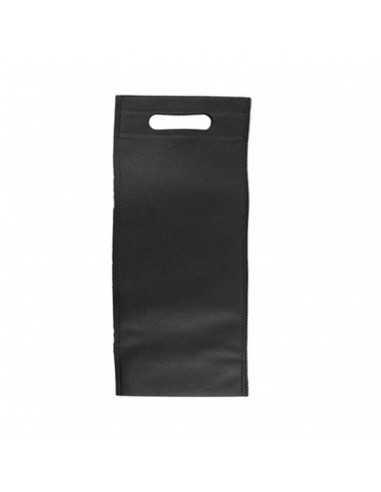 Bolsa negra para botella de forma alargada y tela de 80 gr