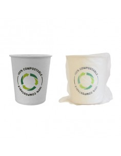 Vaso enfundado decorado compostable de 210 ml