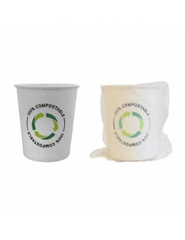 Vaso enfundado decorado compostable de 210 ml